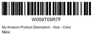 Amazon Barcodes FNSKU packaging